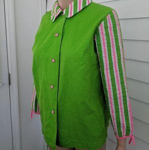 70s Green Polka Dot Blouse Striped Pink White M